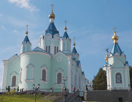 orthodox church  temple of blue color