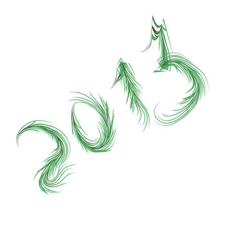 numbers of green fir branches on a white background.Vecto