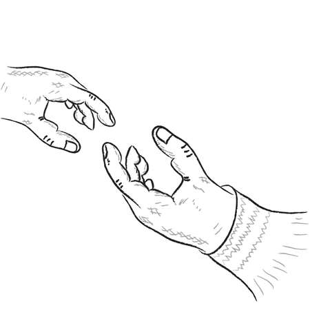 two human hands on a white background. Vector