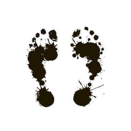 Black prints of a human foot on a white background. Vector Stock Vector - 16264426