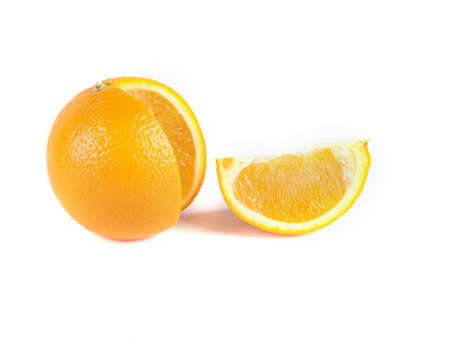 a slice of orange and orange on a white background Stock Photo - 16748091