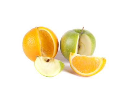Fruit composition  Apple and orange on a white background Stock Photo - 16754877