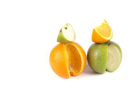 Fruit composition of apple and orange on a white background Stock Photo