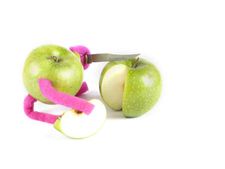 Fruit composition of apples and a knife on a white background Stock Photo - 16754923