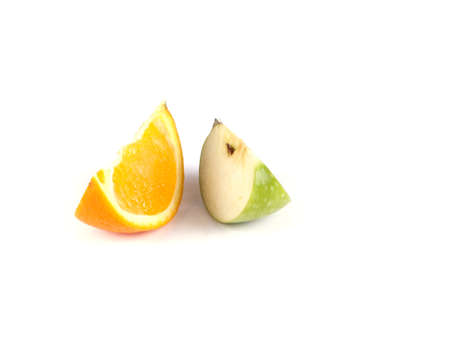 Fruit composition of slices of apple and orange on a white background Stock Photo - 16754875
