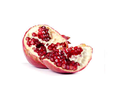 Fruit composition of pomegranate on a white background