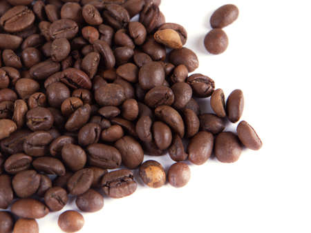 composition of coffee beans on a white background Stock Photo - 17698335