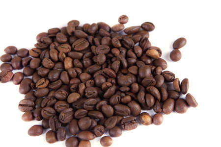 composition of coffee beans on a white background