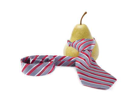 green pear wearing a red tie on a white background 版權商用圖片