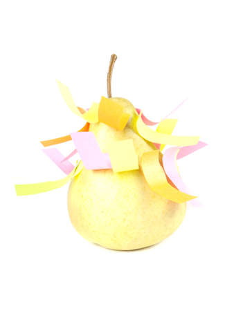 Fruit composition of pears and self-adhesive paper on a white background