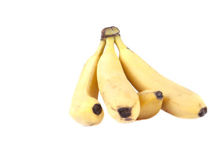 Fruit composition of ripe bananas on white background