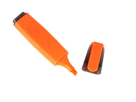 Office composition of the orange marker on a white background