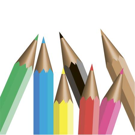 colored pencils on a white background  Vector