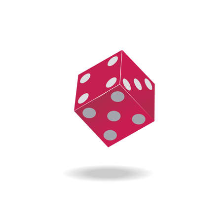 Playing red cube on a white background Vector  Illustration