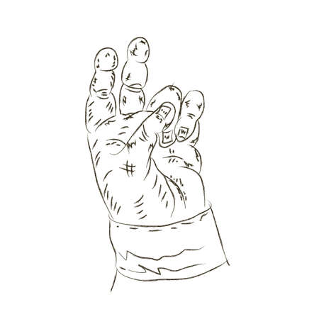 the drawn human hand on a white background Vector illustration
