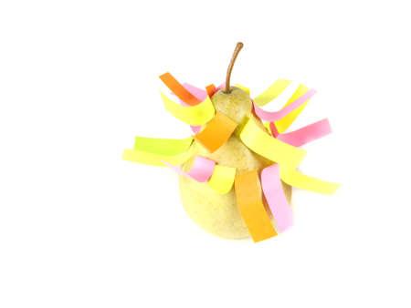 Fruit kolmpozitsiya of green pears and stickers on a white background Stock Photo