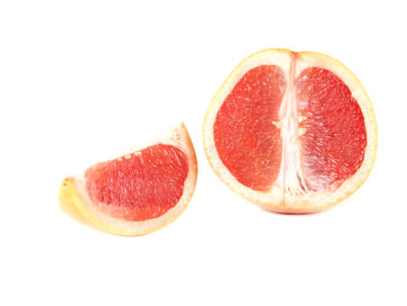 Fruit composition of ripe grapefruit on a white background 版權商用圖片