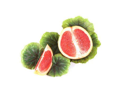 Fruit composition of ripe grapefruit on a white background Stock Photo