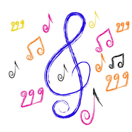 composition from music notes on a white background. Vector
