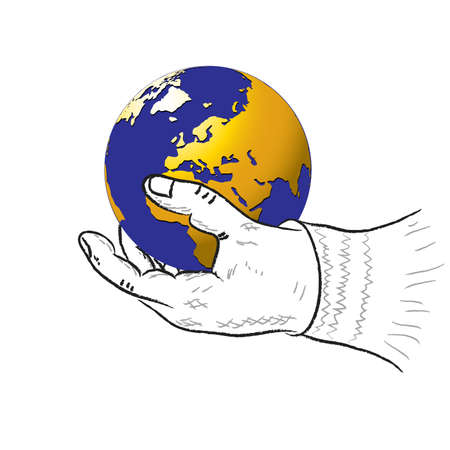 Human hand and planet on a white background.vector