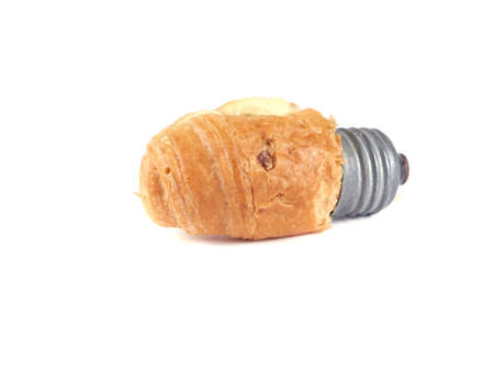Bread bun in the form of light bulbs on a white background