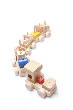 model wood train on white background photo
