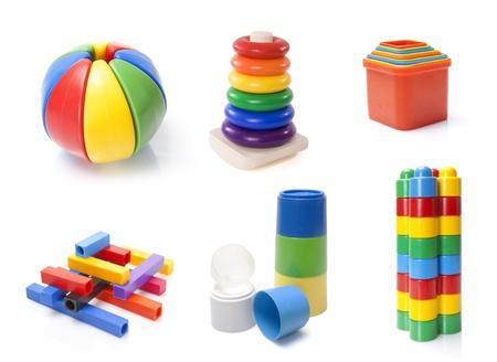 many colour kids toys on white background photo