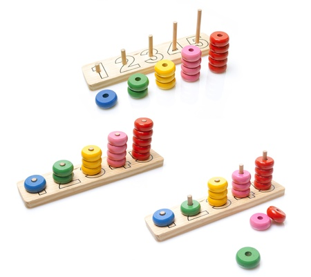 wooden toy on white background Imagens