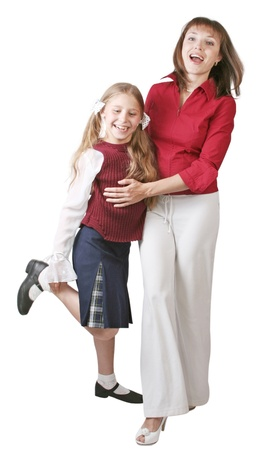 mother and daughter on the white background Stock Photo - 12417407