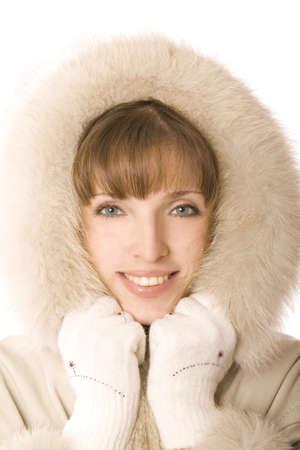 schoonheid vrouw geïsoleerd op wit Stockfoto