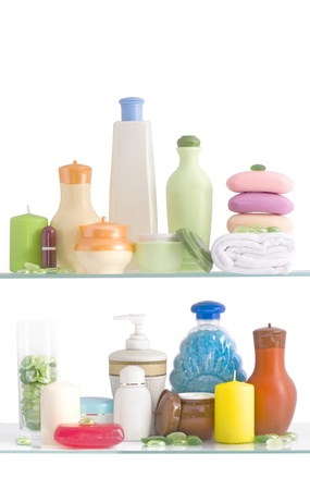 Shelf in a bathroom on the white background