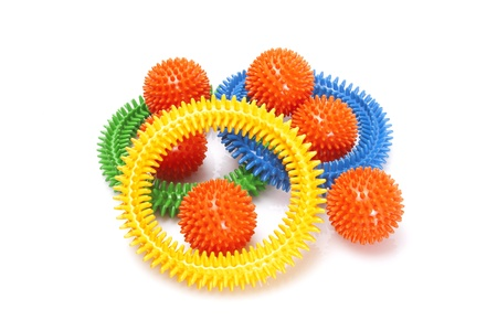 massage rings and balls on white background photo