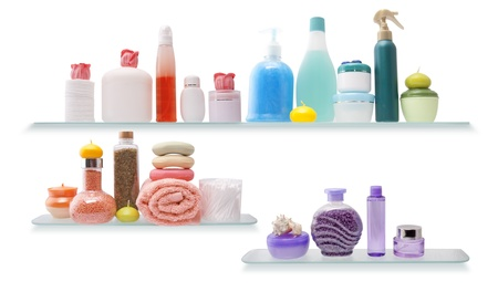 Shelf with cosmetics in a bathroom on the white background Imagens