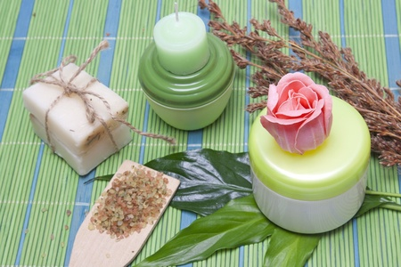 Handmade Soap with natural ingredients over wooden background photo