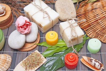 handmade soap: Handmade Soap with natural ingredients over wooden background