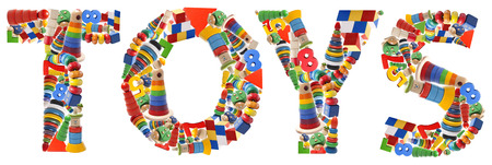 Wooden toys word - Toys on white background Stock Photo