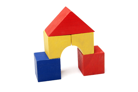Colored wooden toys for the building photo
