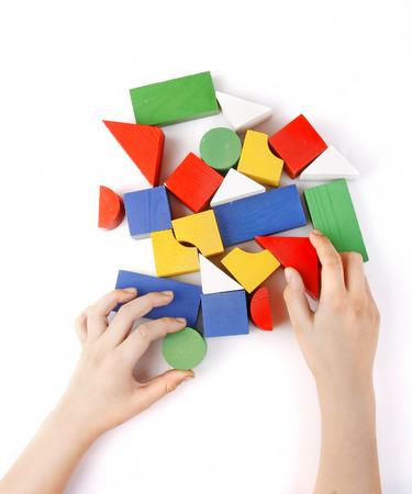 Gekleurde houten speelgoed voor de bouw Stockfoto