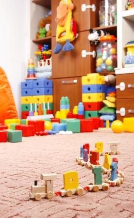 houten trein in de kamer voor kinderen