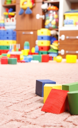 toy box: wooden blocks in room for children
