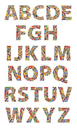 single line: Wooden toys alphabet on white background