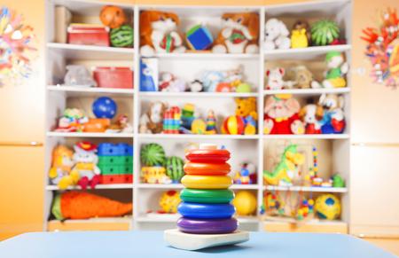 simple store: plastic pyramidion in room for children