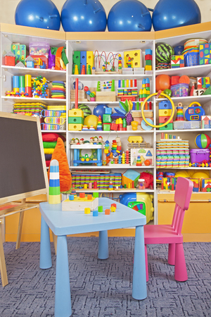 large store: school desk in the children room Stock Photo