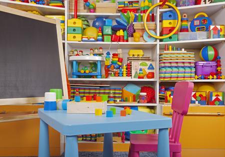 school desk in the children room Imagens