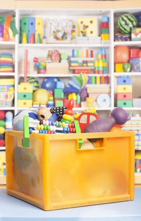 for children toys: box with toys in room for children