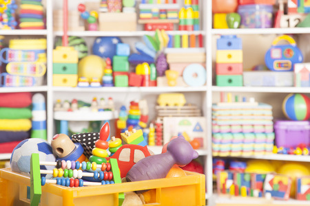 large store: box with toys in room for children