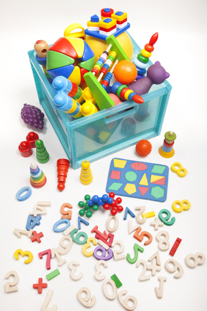 game room: box with toys on the white