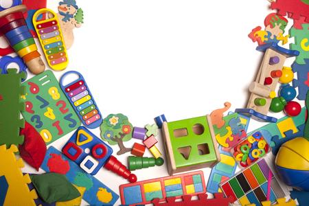 kindergarten toys: border of very many kids toys