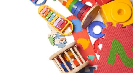 rand van heel veel kinderen speelgoed Stockfoto