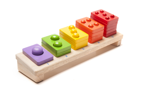 wooden toy: wooden toy on white background Stock Photo